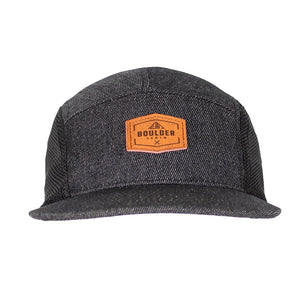 Boulder Denim Black Denim 5 Panel Hat Front