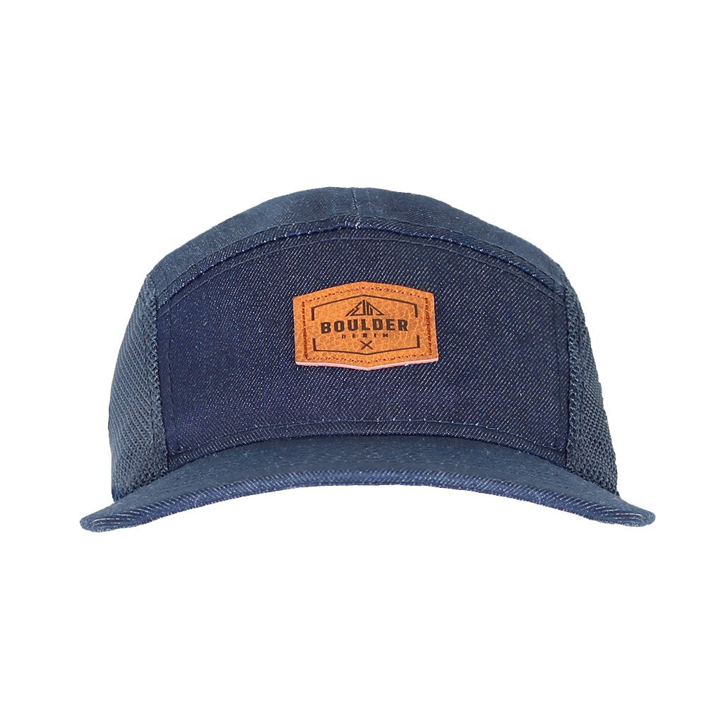 Boulder Denim Blue Denim 5 Panel Hat Front