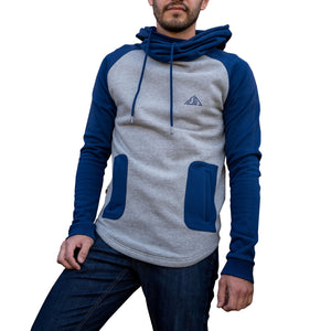 Boulder Denim Men's Hoodie in Blue and White