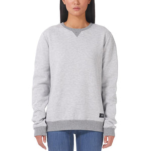 Boulder Denim Unisex Grey Mix Crew Neck Sweater Female Front