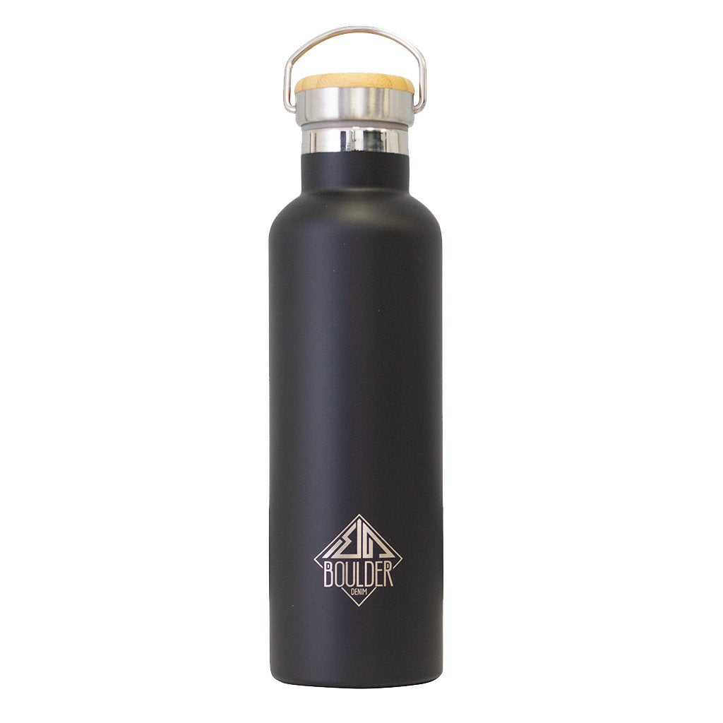 Double Insulated Black Boulder Denim Water Bottle Front Image