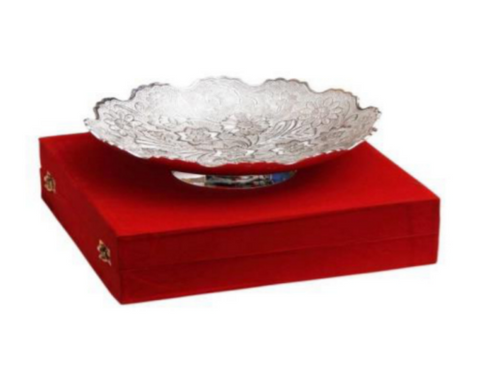 Silver plated gift set: Silver plated large ornamental Indian fruit bowl set, great gifting option-FREE Shipping