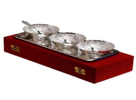 Silver plated gift set: Silver plated three Indian small bowls, spoons and tray set, great gifting option-FREE Shipping