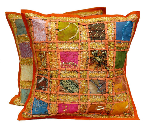 1 Pillow Cover + Free Bonus Orange Patchwork Bohemian Cushion Covers - Free Shipping