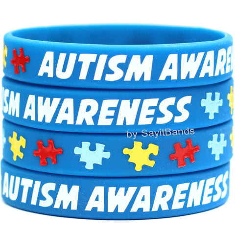 1 Autism Awareness Wristband - Autistic Puzzle Pieces & Support Bracelet Band - Free Shipping