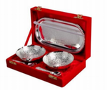 Silver plated gift set: silver plated Indian two bowl, spoons and tray set, traditional engravings, great gifting option-FREE Shipping