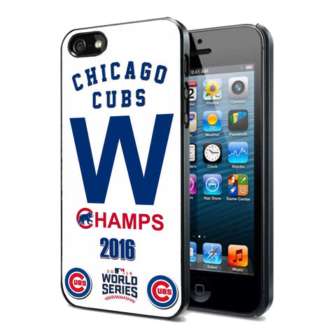 2016 MLB Chicago Cubs World Series Champs Rubber iPhone 4 4s 5 5s 5c 6 6s 7 plus case Black or White - Free Shipping