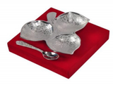 Silver plated gift set: Silver plated Indian leaf shaped platter and spoon set, great gifting option-FREE Shipping