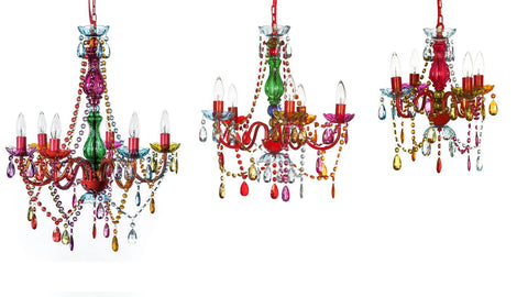 Bohemian Gypsy Color 3-6 Light Small Boho Chandelier Red Metal Frame Crystals - Free Shipping