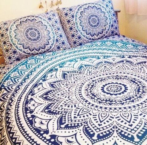 Shades of Blue Ombre Bohemian Mandala Boho 3 PC Set Bedding & 2 Pillow Cases - Free Shipping