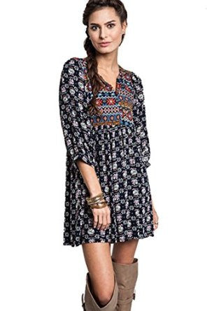 Bohemian Dress Women's Printed Multi-Color Boho Tunic- Navy, Khaki - Free Shipping