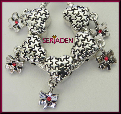 5 Autism Puzzle Piece With Love Dangle fits European Bracelet or Necklace - Free Shipping