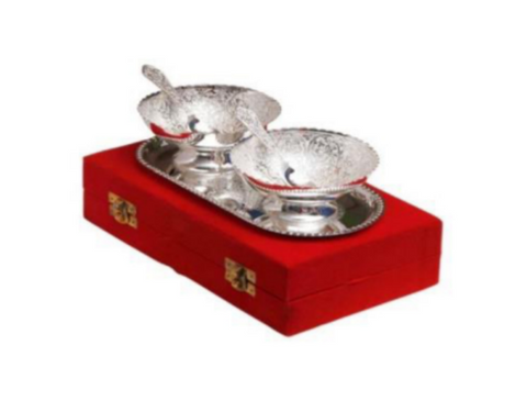 Silver plated gift set: Intricate design Indian two bowls, spoons and tray set, great gifting option-FREE Shipping