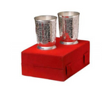 Silver plated gift set: silver plated Indian two glasses set, traditional engravings, great gifting option-FREE Shipping