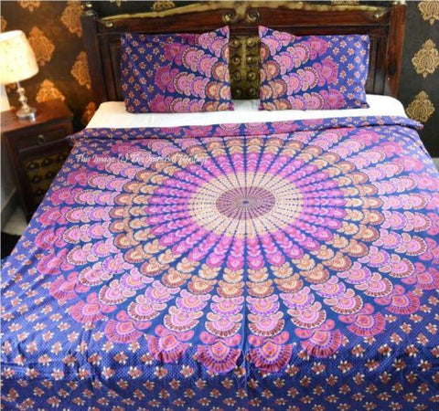 Floral Hippie Bohemian Mandala Indian Boho 3 PC Set Bedding & 2 Pillow Cases - Free Shipping