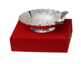Silver plated gift set: silver plated Indian bowl and spoon set, traditional engravings, great gifting option-FREE Shipping