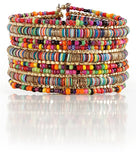 Bohemian Multi-Colored Sequin Gold Cuff Bracelet - FREE SHIPPING