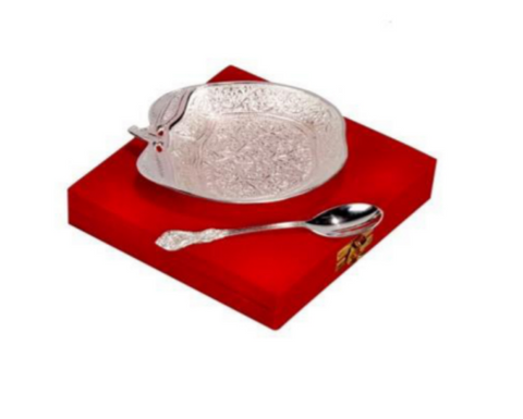 Silver plated gift set: silver plated Indian apple shaped bowl and spoon set, great gifting option-FREE Shipping