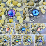 Alloy Hollow Moon & Glass Galaxy Moon Pendant Silver Plated Chain Necklace