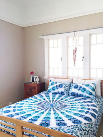 Armelia 2 Floral Bohemian 3PC Mandala Blue Boho King Bedding & 2 Pillow Cases - Free Shipping