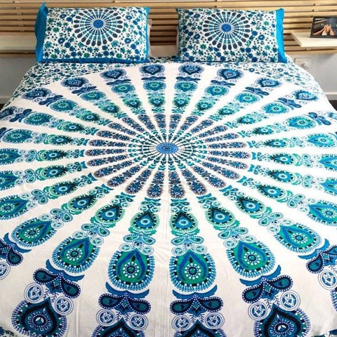 Armelia Floral Bohemian 3PC Bed Set Blue Mandala Bedspread & 2 Pillow Cases - Free Shipping