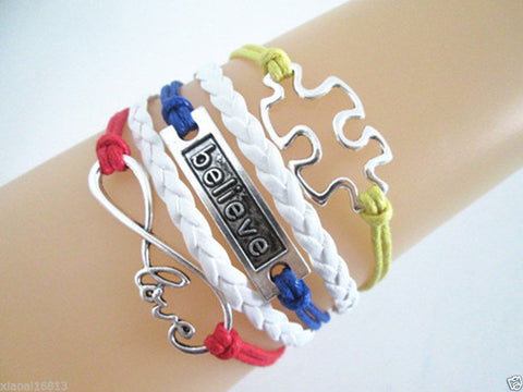 Autism Infinity Love/Believe/Puzzle Autism Charms Leather Braided Bracelet - Free Shipping