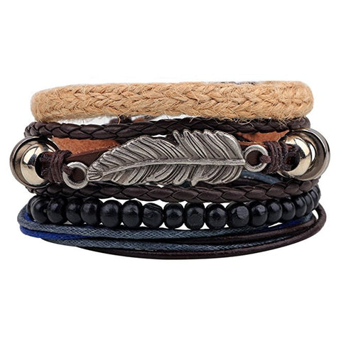 Unisex PU Leather Charm Beaded Multi Strands Adjustable Wrap Bracelets - FREE SHIPPING