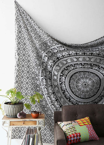 Black and White Bohemian Elephant Mandala Hippie Boho Tapestry - Free Shipping