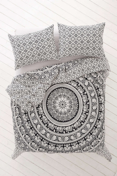 Black And White Bohemian Elephant Bedding 3 Pc Set Queen