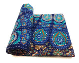 Blue Mandala Bohemian Kantha Quilt 3 PC Boho Bed Set 2 Pillow Cases - Free Shipping