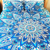 Blue Sun Flower Bohemian Tapestry Elephant Mandala Indian Queen Size Duvet