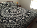 Bohemian Black and White Marching Elephants PC Set Queen & 2 Pillow Cases - Free Shipping