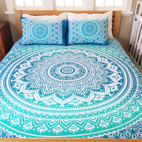 Bohemian Blue Life Flower Queen 3 Pc Set Mandala Boho Bedding & 2 Pillow Cases - Free Shipping
