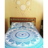 Bohemian Blue Sun Flower Mandala Boho 3 PC King Bedding & 2 Pillow Cases - Free Shipping