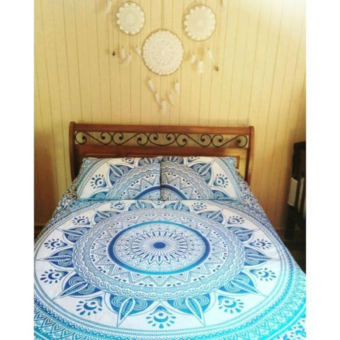 Bohemian Blue Sun Flower Boho 3 PC Bed Set Queen Bedding & 2 Pillow Cases - Free Shipping