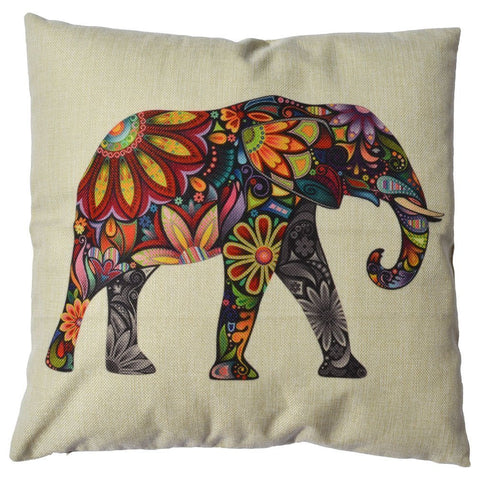 Bohemian Elephant Cotton Decorative Throw Pillow Case Cushion Cover, 18