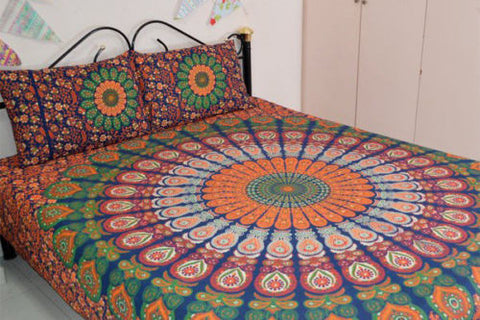 Bohemian Indian Queen 3 Pc Set Mandala Boho Hippie Bedding & 2 Pillow Cases - Free Shipping