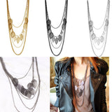 Bohemian Leaves Vintage Multi-layer Necklace - Boho Black, Silver, & Gold Colors -  Free Shipping