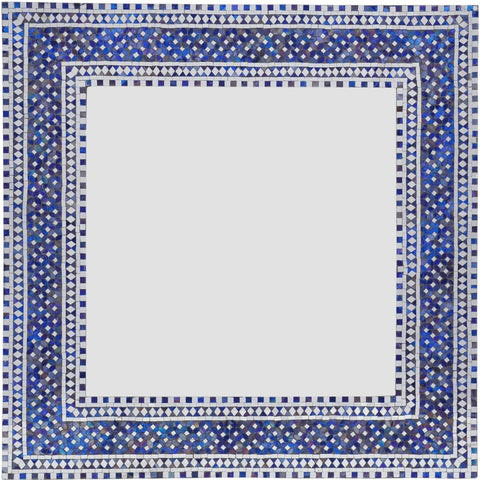 Bohemian Luxury Angora Handmade Mirror Blue & White Boho Glass Home Decor - Free Shipping