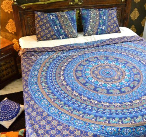 Bohemian Marching Imperial Blue Elephant Boho 3 PC Bed Set & 2 Pillow Cases - Free Shipping