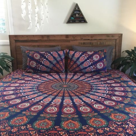 Bohemian Ombre 3 Piece Set Mandala Boho King Bed Set and 2 Pillow Cases - Free Shipping