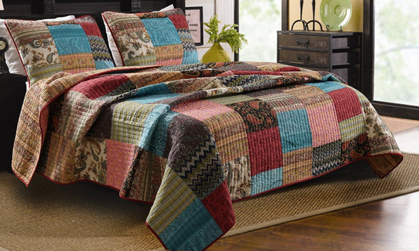 Bohemian Patchwork Quilt Twin Full Queen King Size 3 Piece