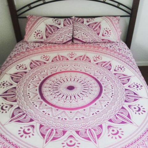 Bohemian Pink Sun Flower Mandala Boho 3 PC Bed Set Queen & 2 Pillow Cases - Free Shipping