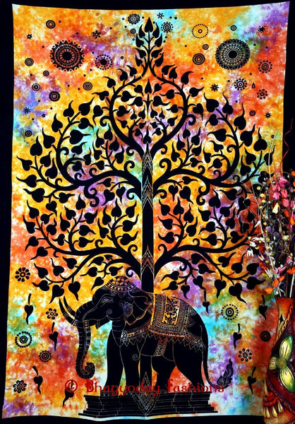 Bohemian Psychedelic Celestial Elephant Tree Tapestry