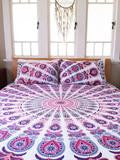 Purple Love Mandala Bohemian Kantha Quilt 3 PC Boho Bed Set 2 Pillow Cases - Free Shipping