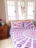 Bohemian Purple Peacock Mandala Boho 3 PC Bed Set Queen & 2 Pillow Cases - Free Shipping