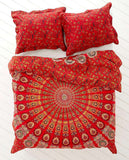 Bohemian Red Life Flower Queen Duvet Cover 3 Pc Set Boho Tapestry and 2 Pillow Cases - Free Shipping
