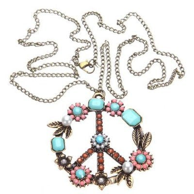 Bohemian Retro Peace Hippie Vintage Silver & Bronze Pearl Rhinestone Necklace - Free Shipping