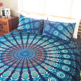 Bohemian Sea of Blues 2 King Size Bedding Mandala 3 Piece Set 2 Pillow Cases - Free Shipping