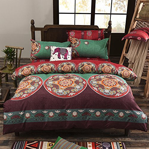 bohemian style 2 polyester duvet cover set floral boho design queen erummagers. Black Bedroom Furniture Sets. Home Design Ideas